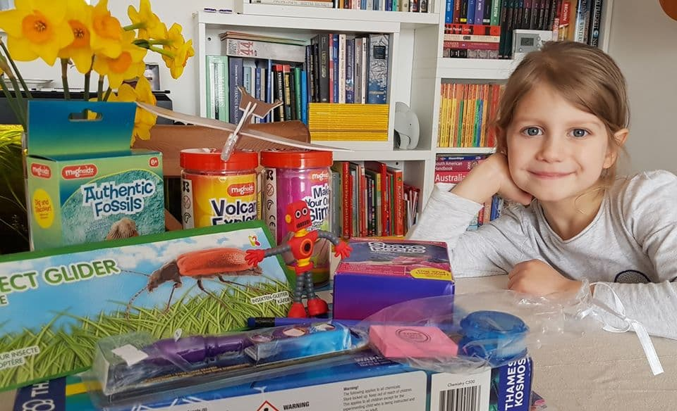 Lena (age 5) with her prizes from Dundee Science Centre