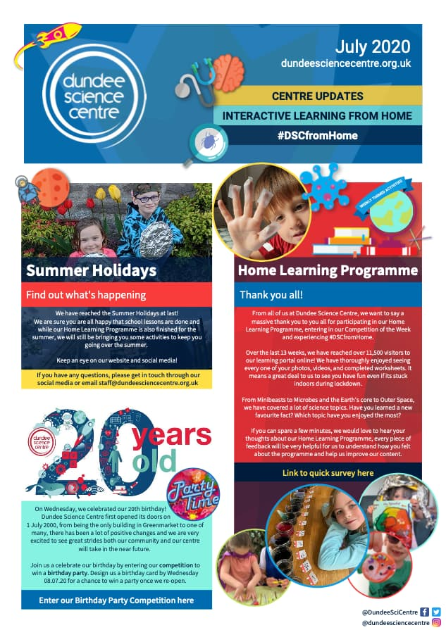 Dundee Science Centre July 2020 Newsletter