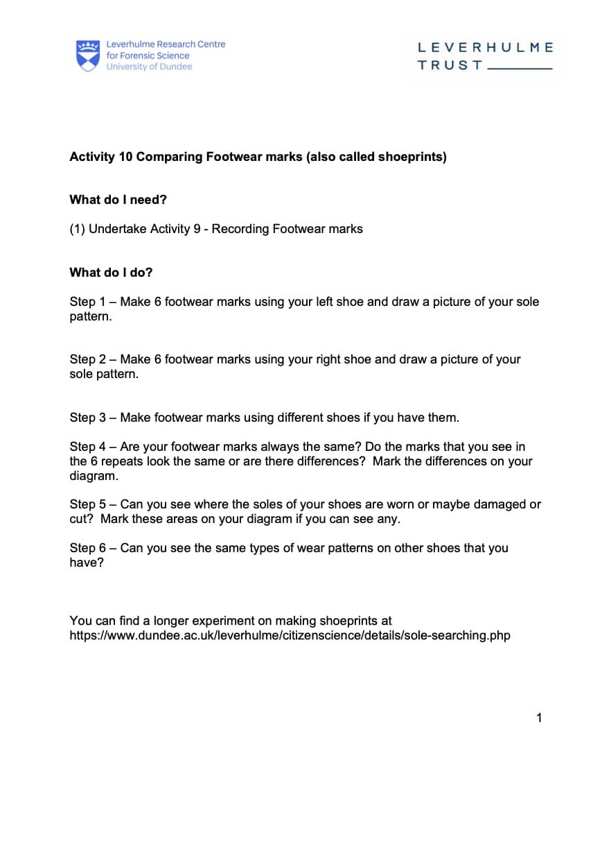 Activity 10 - Comparing Footwear Worksheet