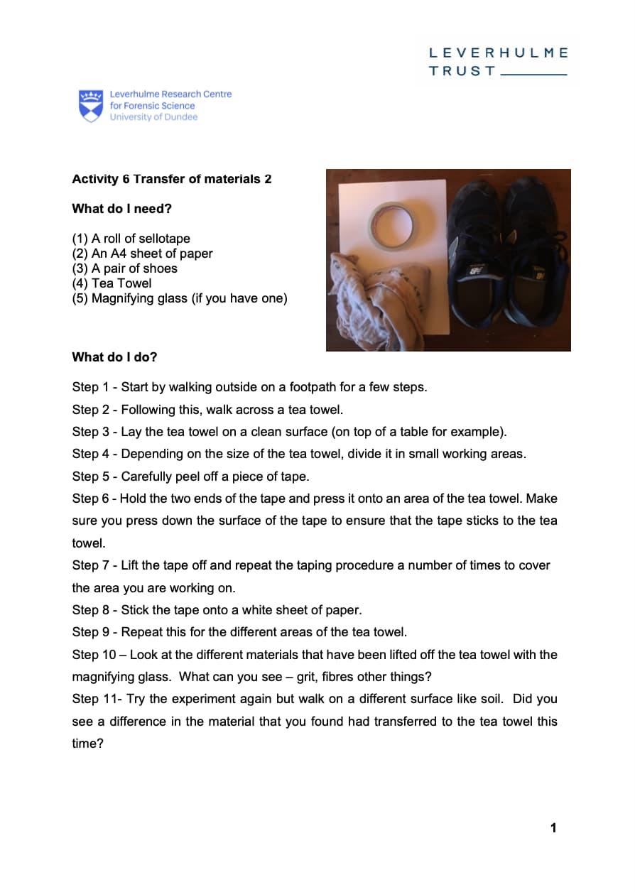Activity 6 - Transfer of Materials 2 Worksheet