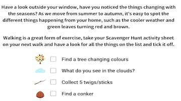 Autumn Scavenger Hunt Worksheet