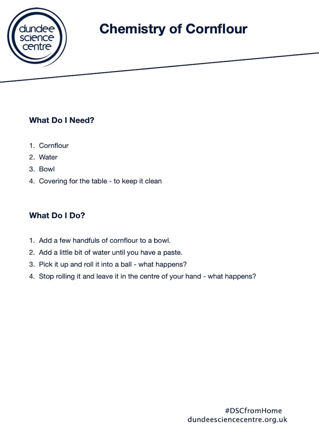 Cornflour Activity Worksheet