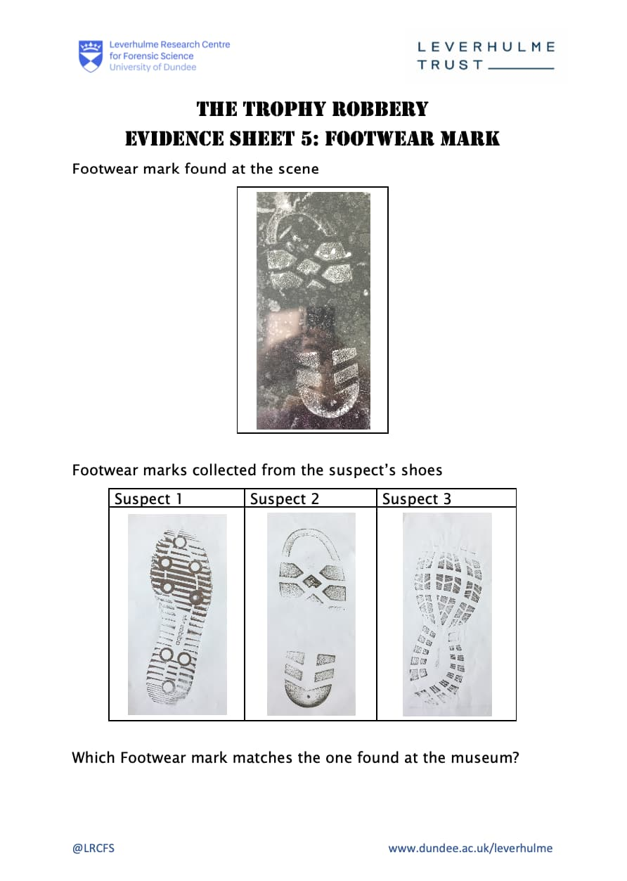 Evidence Sheet 5 - Footwear Worksheet