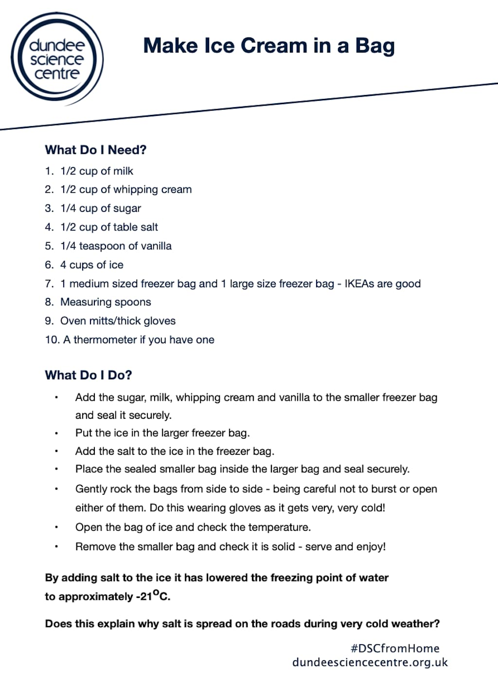 Ice Cream In A Bag Activity Worksheet
