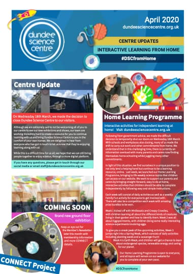 Dundee Science Centre April 2020 Newsletter