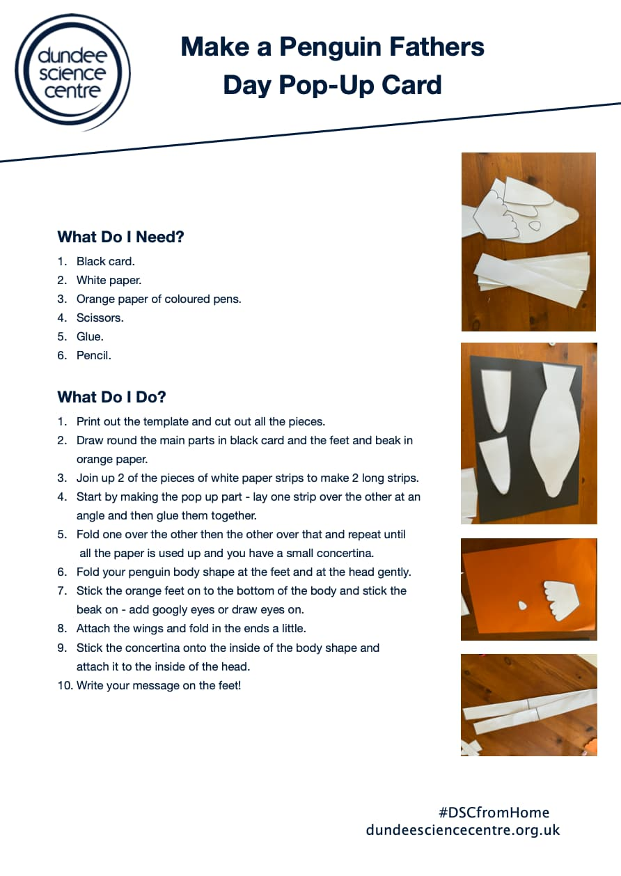 Make a Penguin Fathers Day Pop-Up Card Activity Worksheet