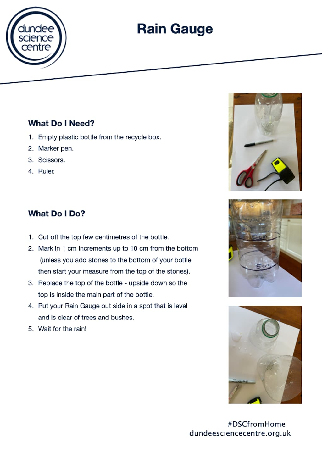 Rain Collector and Gauge Worksheet