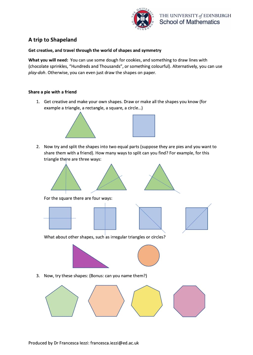 Shapeland Activity Worksheet