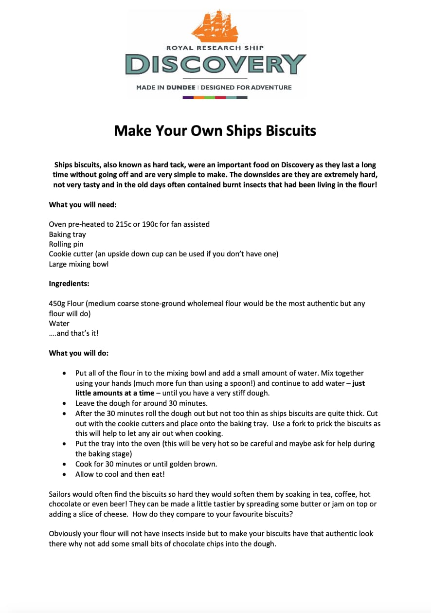 Make Your Own Ships Biscuits Worksheet