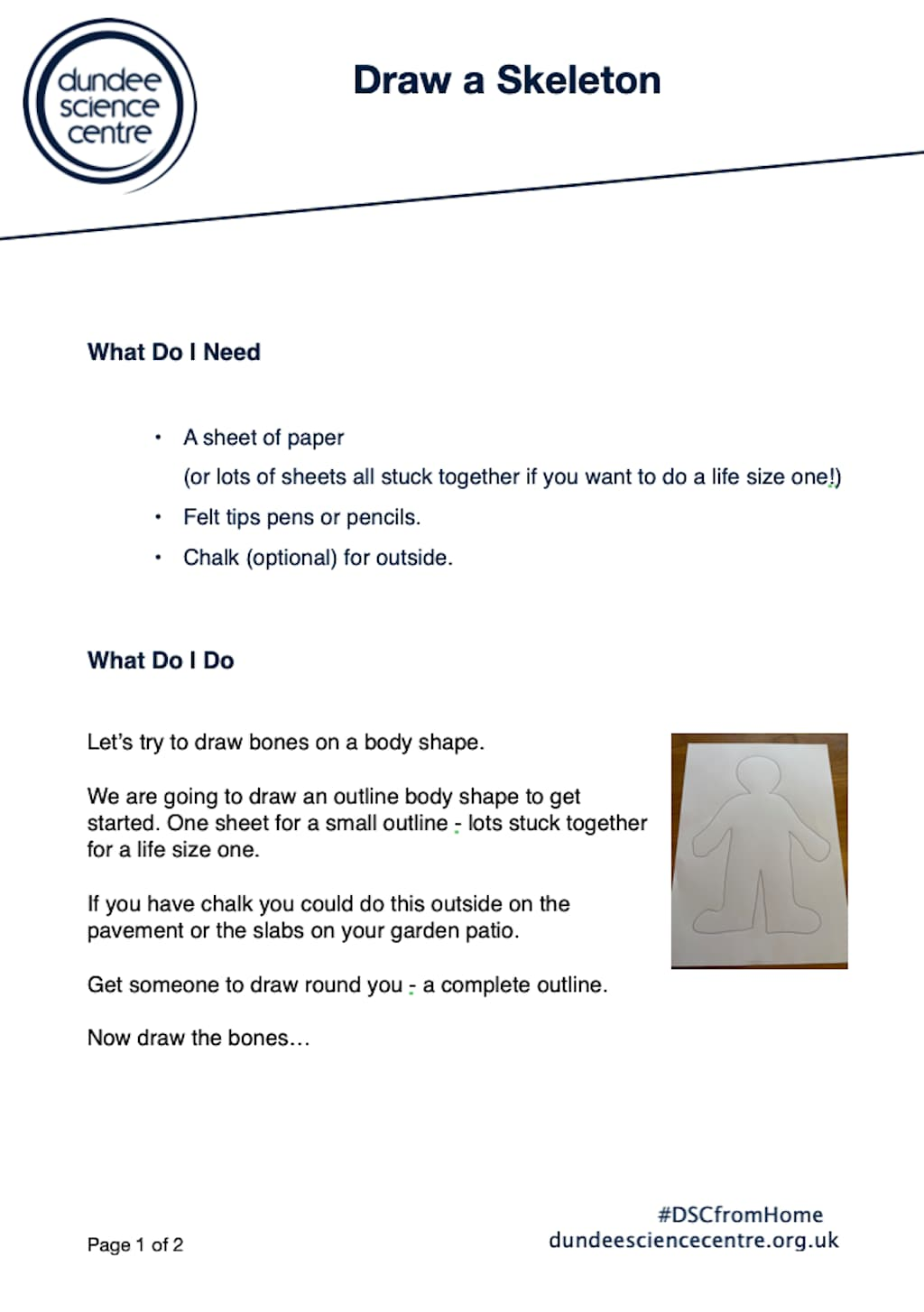 Draw A Skeleton Activity Worksheet