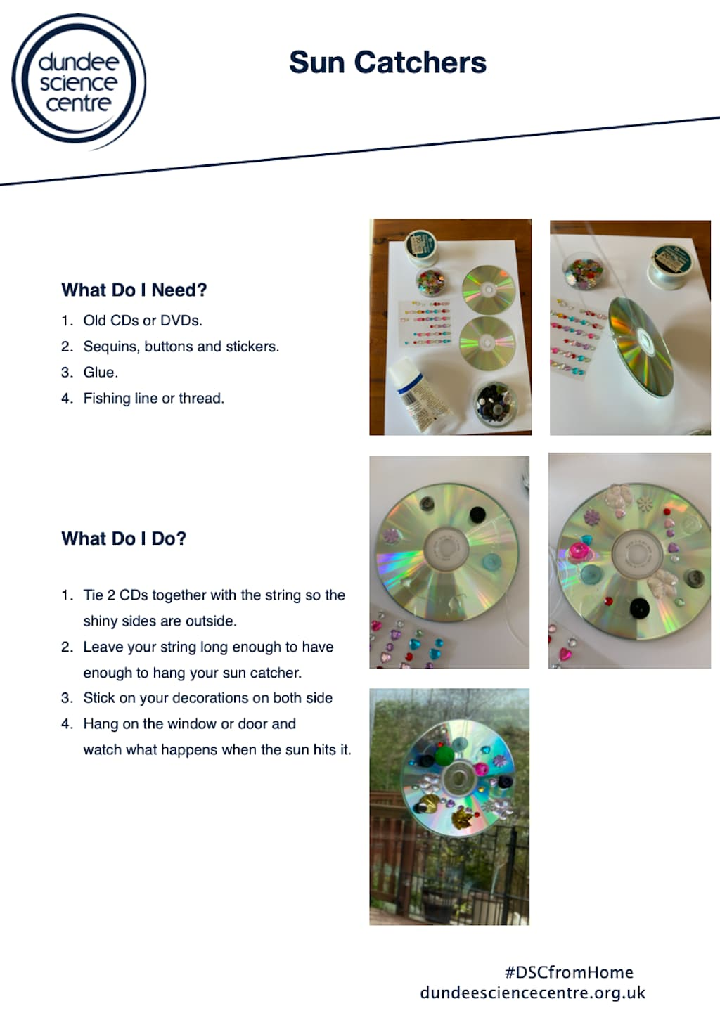 Sun Catcher Activity Worksheet